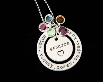 Personalized CUSTOM  name Hand Stamped  pendant necklace with Swarovski Birthstones and tree charm - Mothers necklace - family necklace