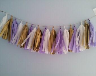 Lavender, white, gold, purple tassel garland. Tissue garland. birthday, baby shower, bridal shower, nursery decor.