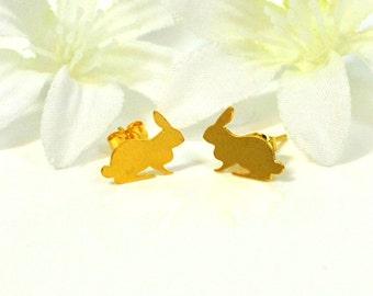 RESERVED Golden Rabbit Post Bunny Earrings The Blissful Duo - Rabbit Earrings - Bunny Jewelry - Bunny Earrings - Pet Bunny Rabbit - Woodland