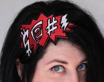 Comic potty mouth embroidered headband red and white