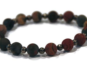 Ascension Line Matte Picasso Jasper Stone and Pyrite Meditation Yoga Wrist Mala Stretch Bracelet Root Chakra Mantra Energy Healing Beads