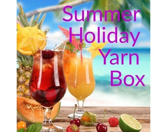 Yarn Box, Summer Holiday Yarn Box, hand dyed yarn plus extra goodies, gift for a knitter, knitting gift, indie dyed yarn, gift for crocheter