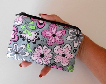 Zipper Coin Purse Zipper Pouch Little Padded Coin Purse ECO Friendly NEW Pink Fiesta