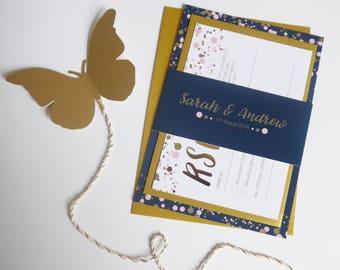 Luxury Gold Foil Wedding Invitation Set, Wedding Invite bundle, RSVP, Belly Band, Confetti