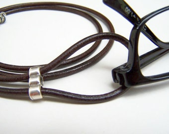 Eyeglasses Necklace, Lanyard, Leather Cord, Eyeglass Loop, 26-36 inch, Eyeglass Holder, Eyeglass Chain