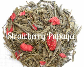 Strawberry Green Tea, Organic, Loose Leaf, STRAWBERRY PAPAYA, Fruit Tea, Vegan, Non GMO, Tea Gift, Healthy, Under 5 Dollars, Tea Lover Gift