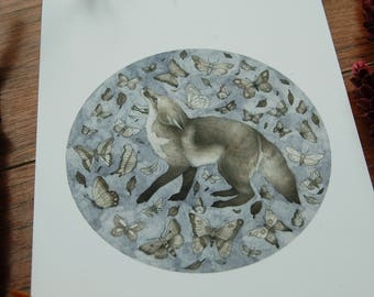 Fox and Butterflies Illustration~Giclee Print