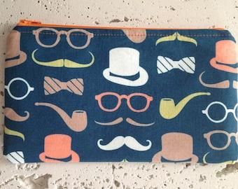 Top Hat & Moustache Zipper Pouch/Gadget Bag