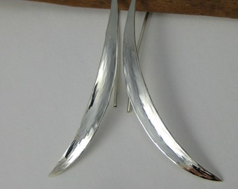 Long Sterling Silver Earrings - Modern Hammered Earrings - Leaf Shaped Earrings - Anticlastic Earrings - Metalsmith Jewelry - Blades O Grass