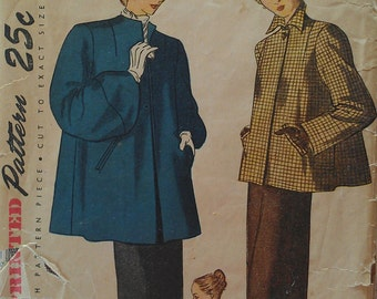 Vintage 50s Swing Trapeze LUCY Coat Jacket Huge Sleeves Sewing Pattern Simplicity 1716 B30