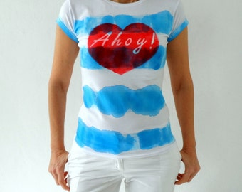 Hand Dye Blue Striped Ahoy Tee , Nautical Women T Shirt ,  hand stenciled red heart Size M/L