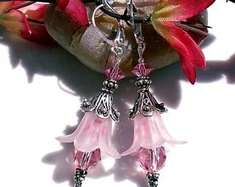 Rose Tulip Earrings Pink Swarovski Crystals Sterling Tulip Bali Beads