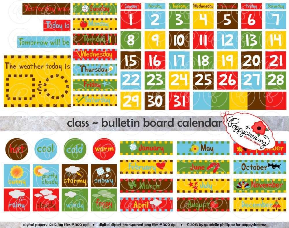 Calendar Numbers Clipart : Class bulletin board calendar clipart set dpi school