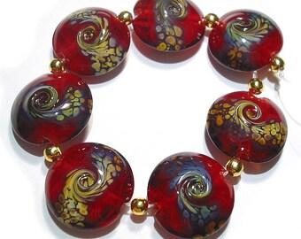 Handmade Glass Lampwork Beads,  Red Raku Twist Lentils