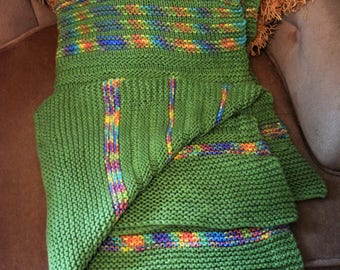 Lovingly hand knit baby or lap blanket- bright green and rainbow