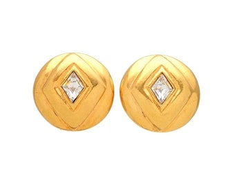 Authentic vintage Chanel earrings Round Rhombus Stone #ea2062