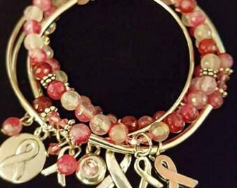 Breast Cancer Awareness Stacked Bracelet Set