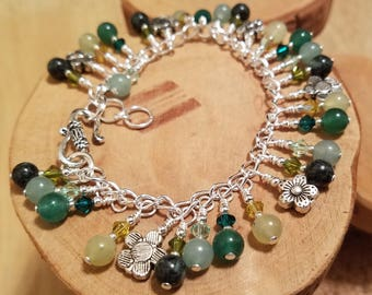 Herb Garden shades of green gemstone and Swarovski crystal cha cha chain bracelet ... and it's adjustable too!