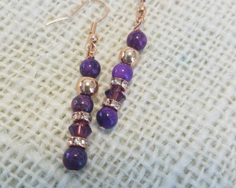 Purple Crazy Lace Agate, Amethyst Swarovski, Rose Gold---Drop Earrings