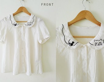 I would like to become cat blouse, 90s cream cat embroidery short sleeve peterpan collar top, sheer chiffon,petite,crochet detail,zakka, S-M