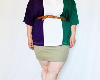 Plus Size - Vintage Olive Knit Bodycon Mini Skirt (Size L 14/16)