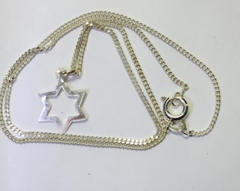 Half Inch sterling Silver Star Of David Pendant On 16 Inch 835 Continental Silver Curb Chain