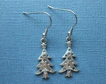 Christmas Tree Earrings - Dangle Earrings - Tree Earrings- Holiday Jewelry - Winter Jewelry - Christmas Jewelry - Holiday Earrings -E121