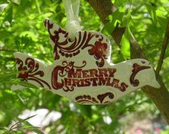 Merry Christmas, Ceramic Dove Christmas Ornaments