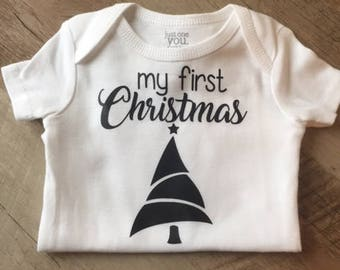 My First Christmas Bodysuit w/ Christmas Tree - Baby Christmas outfit - Christmas Baby One Piece - Baby Clothing - Baby's 1st Christmas