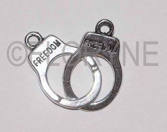 Silver clasp, pair of handcuffs charm