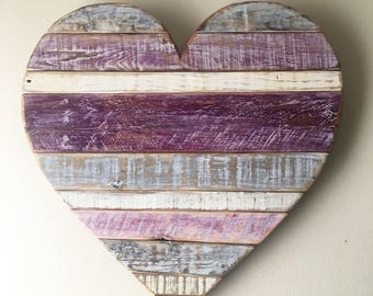 2-3 WEEK WAIT // Medium Rustic Striped Plum Heart - beach, wall decor, cottage, pallet wood, baby's room, ultra violet