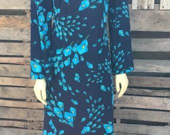 Vintage  Bleeker Street 70s blue floral M Dress