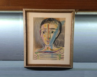 """Picasso Signed and Dated Colored Lithograph """"Tete D'Homme""""  1-6-64, Frame 19 x 17"""""""