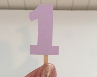 Light purple number cupcake toppers- set of 12