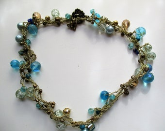 Gold 4 thread vintage Knitted necklace turquoise,transparent tones,gold tone beads,knitted necklace,knitted necklace BOHOCHIC V4-548