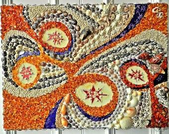 Handmade Mosaic Seashell And Baltic Amber Picture. Wall Art Home decor