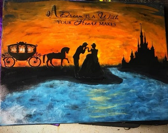 Cinderalla castle sunset painting