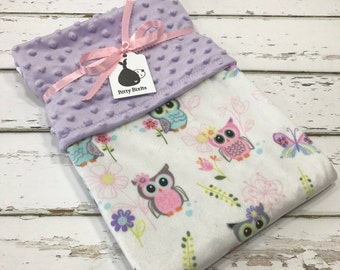 Owl Baby blanket owl blanket Baby girl blanket Baby shower gift double Minky blanket Girl baby Shower gift Purple Minky Blanket purple owl