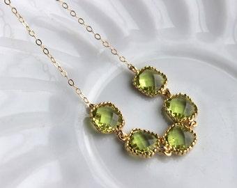Apple Green Peridot Bracelet Gold Plated Green Bracelet - Christmas Gift Bridesmaid Bracelet - Bridal Bracelet Peridot Green Wedding Jewelry