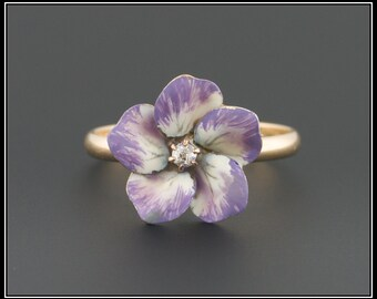 14k Gold Enamel and Diamond Flower Ring, Antique Stick Pin Conversion Ring