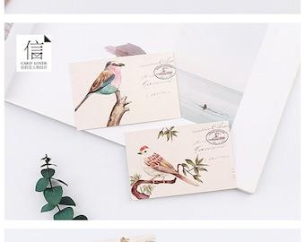 Vintage Style Watercolor Birds Mini Card set - 28 Cards,  A087