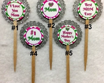Set Of 12 Personalized Mother's Day Cupcake Toppers (Your Choice Of Any 12)