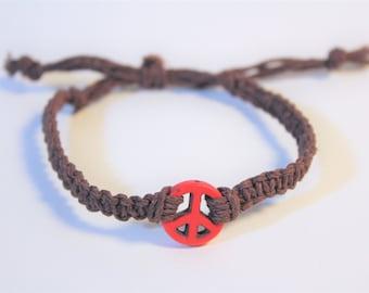 Red Peace Sign Bracelet - Brown and Red Peace Hemp Bracelet - Adjustable Hippy Jewelry - Comfortable Unisex Bracelet - Casual Beach Jewelry
