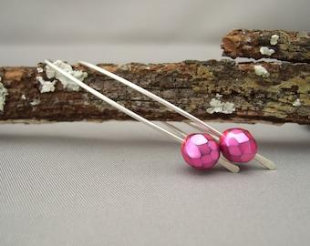 Fuchsia Pink Earrings - Pink Glass Earrings - Faceted Czech Glass Sterling Silver Modern Contemporary Drop Earrings