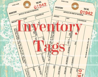 Inventory Tags, Junk Journal Tag Printables, Instant Download No 100