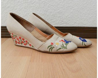 Womens Vintage 70s Palter Deliso Embroidered Wedge High Heel Shoes Sz 9 Narrow