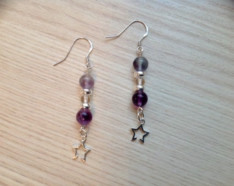 Stars and multicolored fluorite earrings