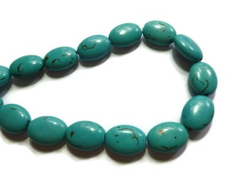 Blue Turquoise Magnesite - Puffed Oval Bead - 17mm x 12mm x 7mm - 24 beads - Full Strand - Teal Cyan