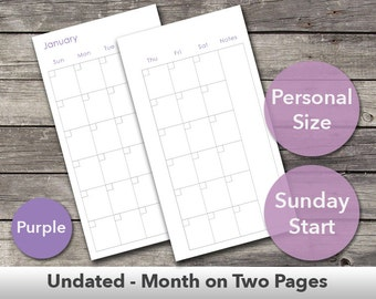 Undated Month on Two Pages Personal Size Planner Inserts – Fits Filofax Personal Size and Kikki.K Medium Size – Printable – Purple – Sunday