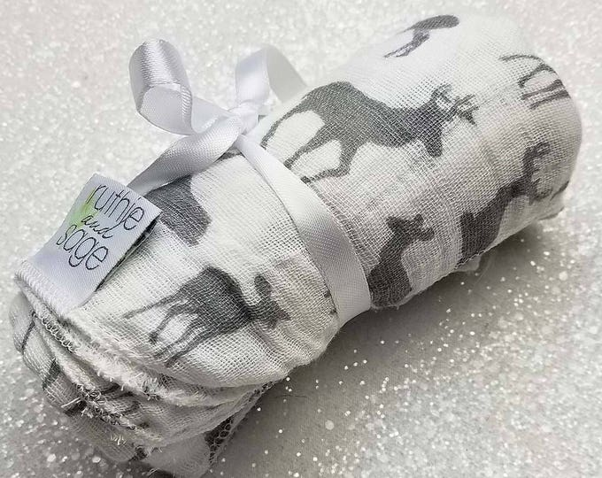Swaddle blanket, wrap blanket, double gauze, newborn, swaddling blanket, deer, newborn photography prop, baby blanket, baby girl, baby boy